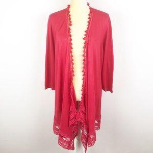 Chico's Linen Blend 3/4 Sleeve Pink Boho Kimono